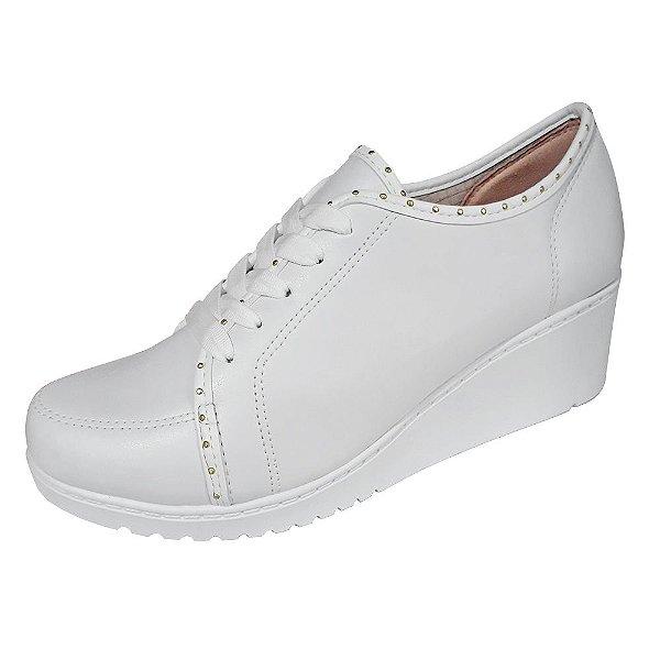 Tenis sapatenis salto anabela feminino branco de amarrar com cadarço lançamento
