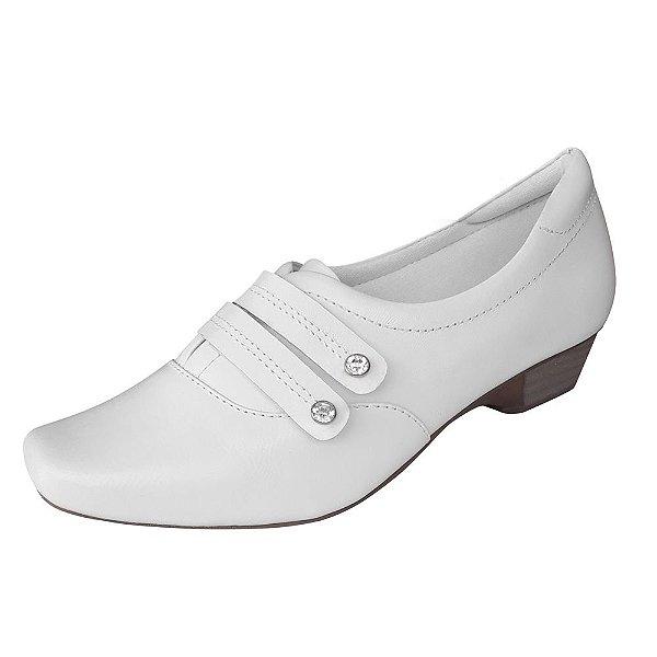 Sapato Branco Feminino Couro Neftali Enfermagem Area da Saude e Estetica