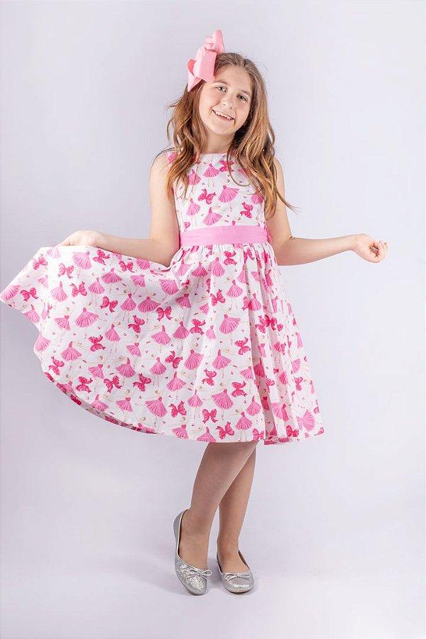 Kit Vestido Bailarina Estampado de Algodão Rosa