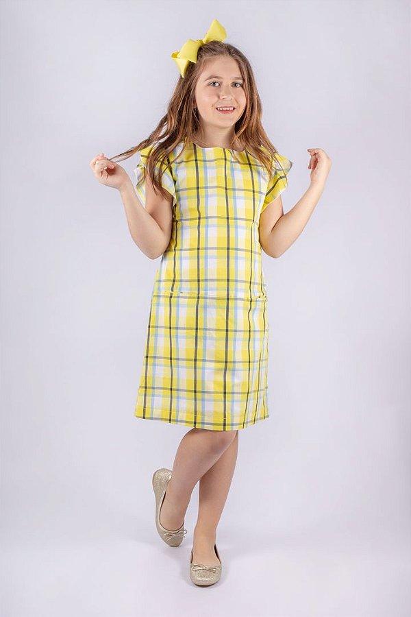 Vestido Princess de Algodão Xadrez Amarelo