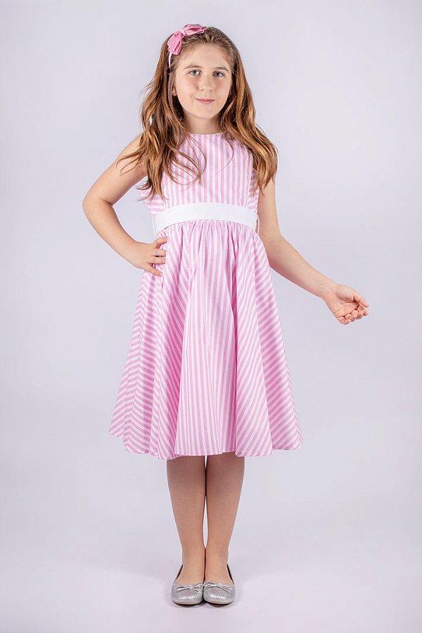 Kit Vestido Bailarina Listrado Rosa