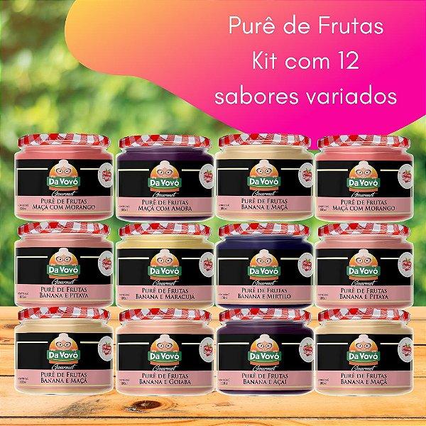 Purê de frutas: 100% fruta  - kit com 12 unidades