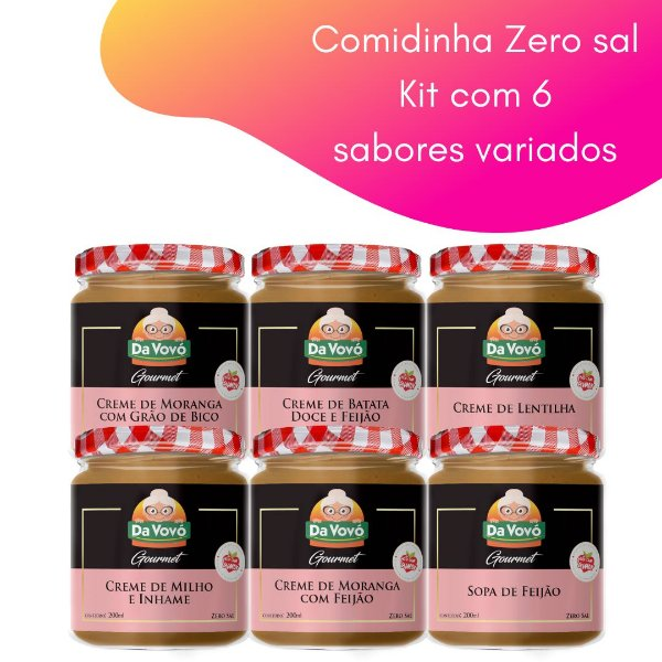 Comidinhas Zero sal - 200ml -  kit com 6 unidades