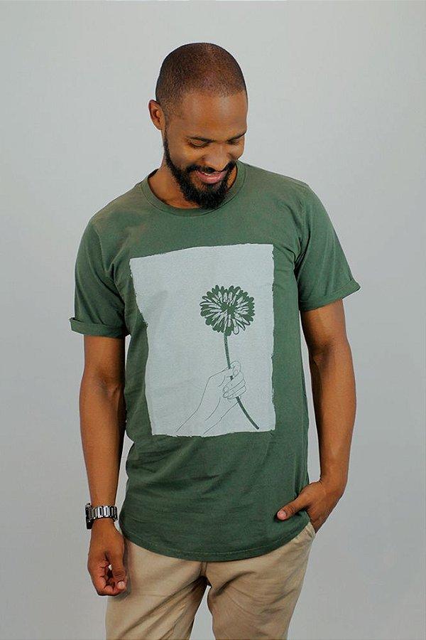Camiseta Flores em Vida · Verde · Masculina