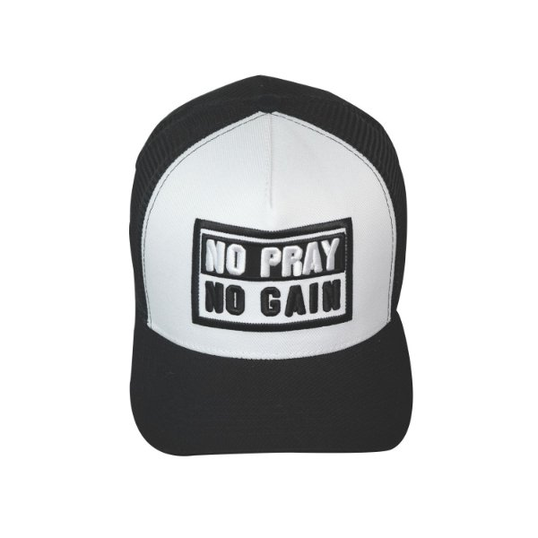 Boné No Pray No Gain Preto e Branco Trucker