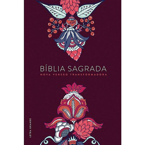 Bíblia NVT - Indian Flowers vinho (Letra grande/capa dura)