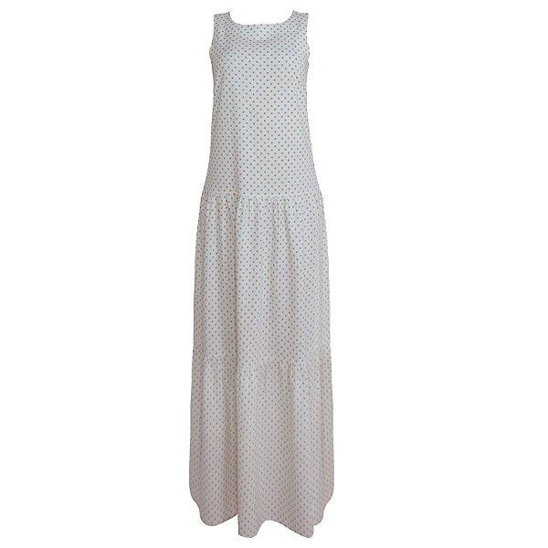 Vestido Poá Bege em Linho