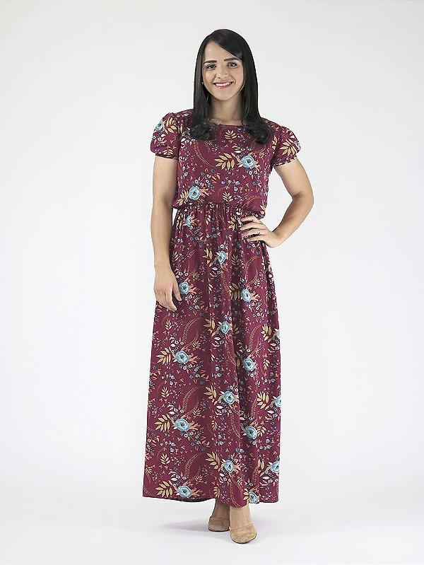 Vestido Longo Floral Cereja