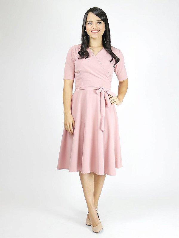 Vestido Transpassado Rosê