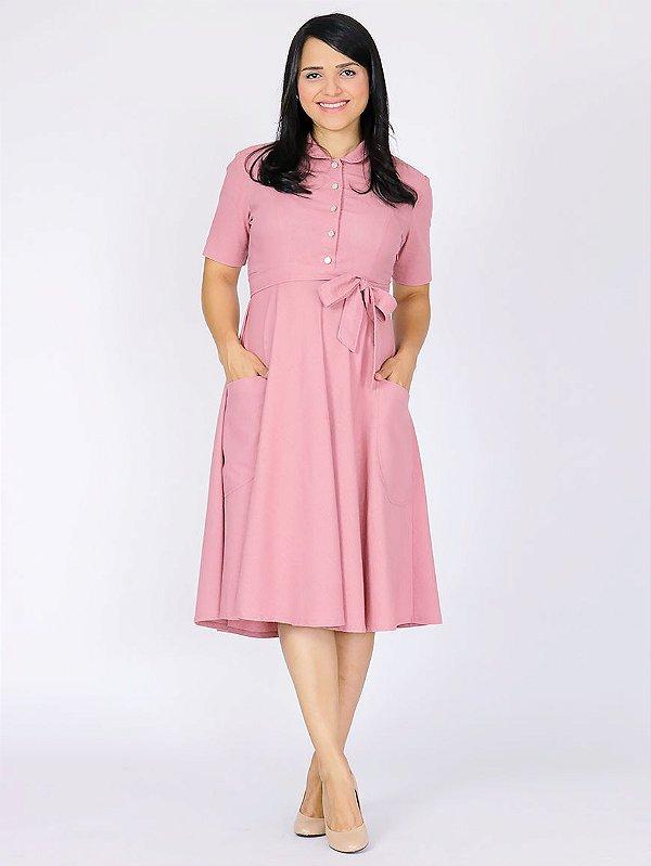 Vestido Gestante Linho Rosê