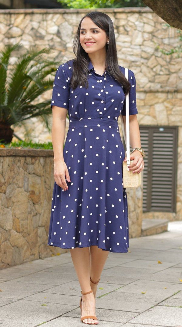 Vestido Poá Azul Marinho