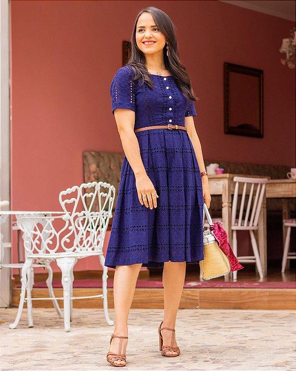 Vestido De Laise Azul Marinho
