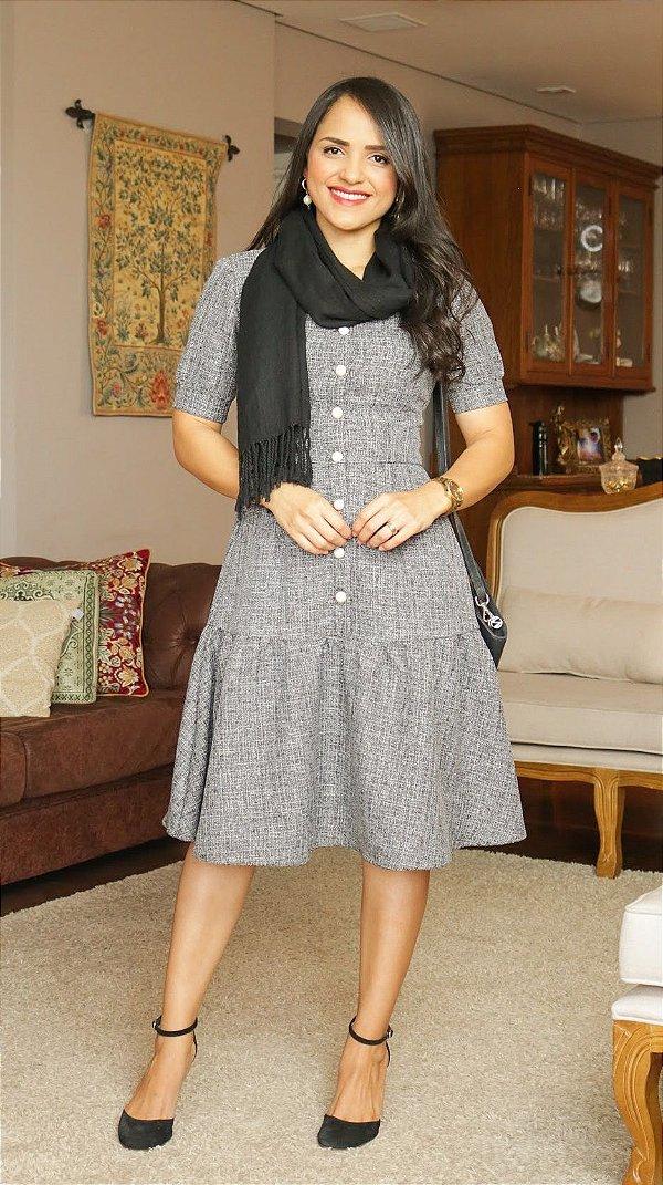 Vestido Tweed Cinza