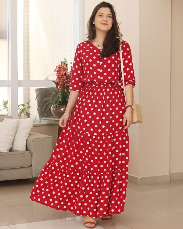 Vestido Longo Poá Vermelho