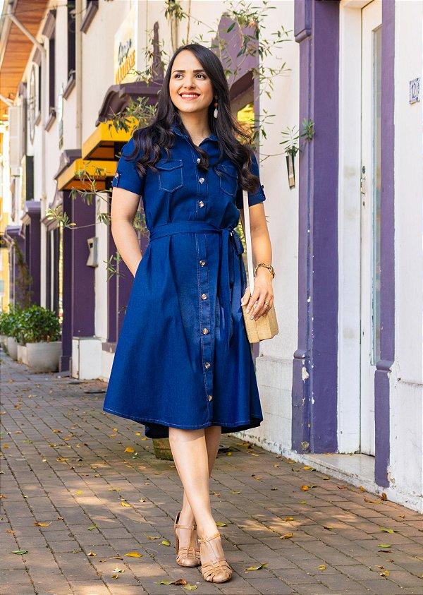 Chemise Valência - Jeans Azul Marinho