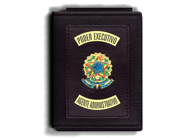 Carteira Premium Funcional Personalizada com Brasões para Agente Administrativo