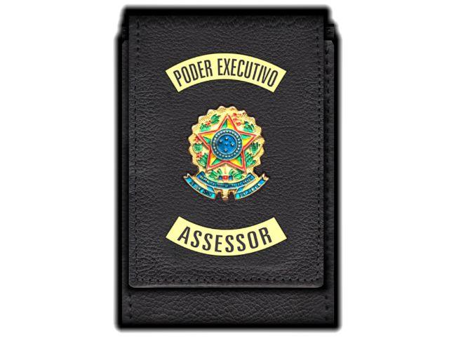 Carteira  Funcional Personalizada com Brasões e com Porta Documentos para Assessor