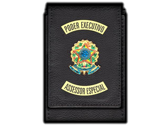 Carteira  Funcional Personalizada com Brasões e com Porta Documentos para Assessor Especial