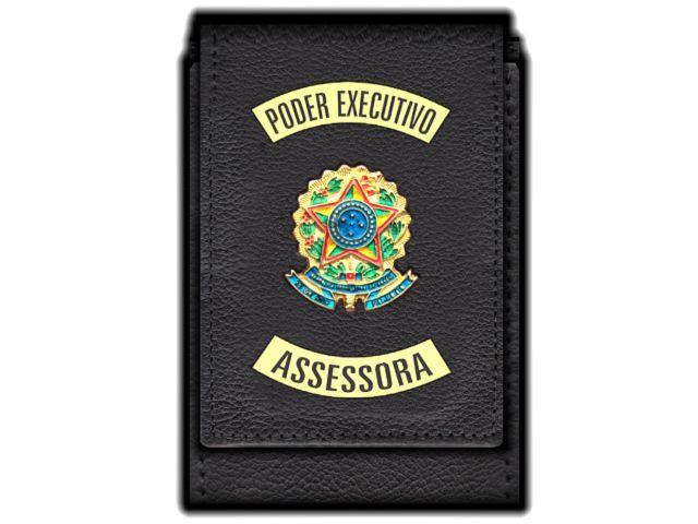 Carteira  Funcional Personalizada com Brasões e com Porta Documentos Poder Executivo para Assessora