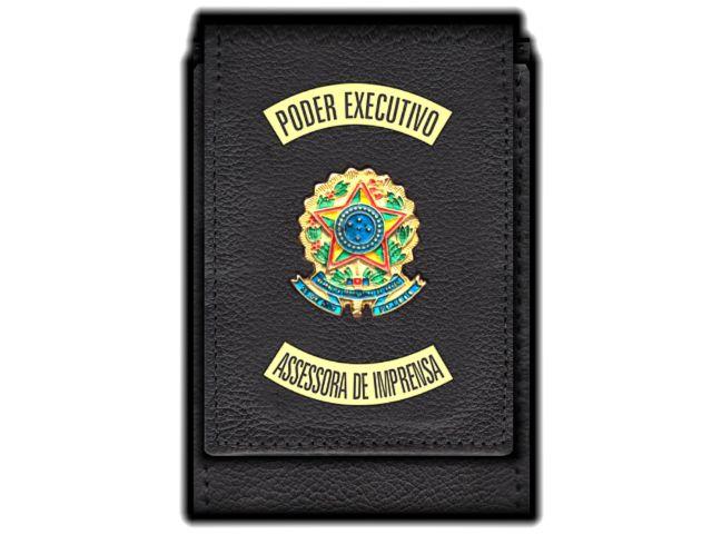 Carteira  Funcional Personalizada com Brasões e com Porta Documentos - Poder Executivo para Assessora de Imprensa