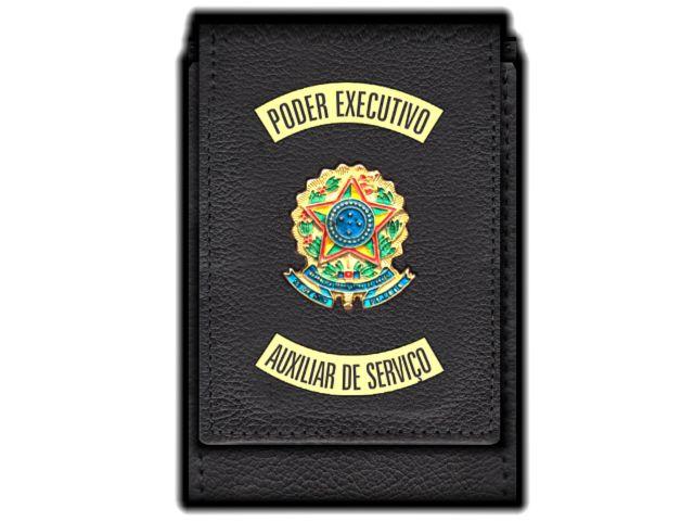 Carteira  Funcional Personalizada com Brasões e com Porta Documentos para Auxiliar de Serviço
