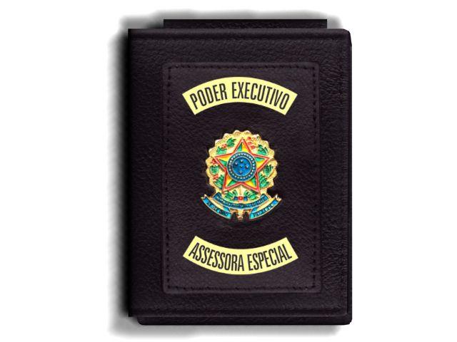 Carteira Premium Funcional Personalizada do Poder Executivo com Brasões para Assessora Especial