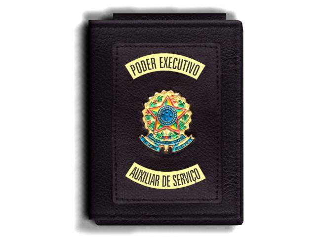 Carteira Premium Funcional Personalizada do Poder Executivo com Brasões para Auxiliar de Serviço