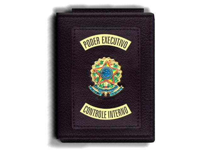 Carteira Premium Funcional Personalizada do Poder Executivo com Brasões para Controle Interno