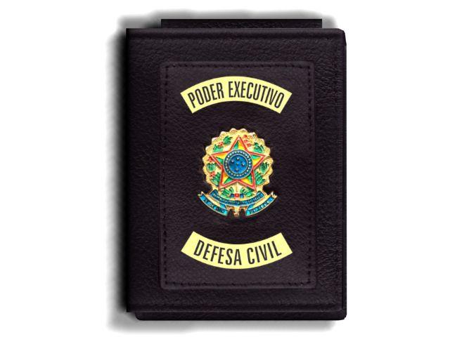Carteira Premium Funcional Personalizada do Poder Executivo com Brasões para Defesa Civil