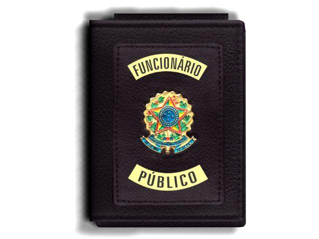Carteira Premium Funcional Personalizada do Poder Executivo com Brasões para Funcionário Público