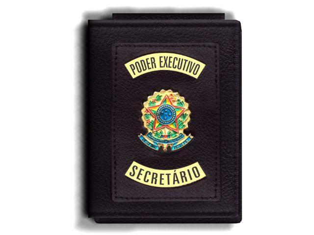 Carteira Premium Funcional Personalizada do Poder Executivo com Brasões para Secretário
