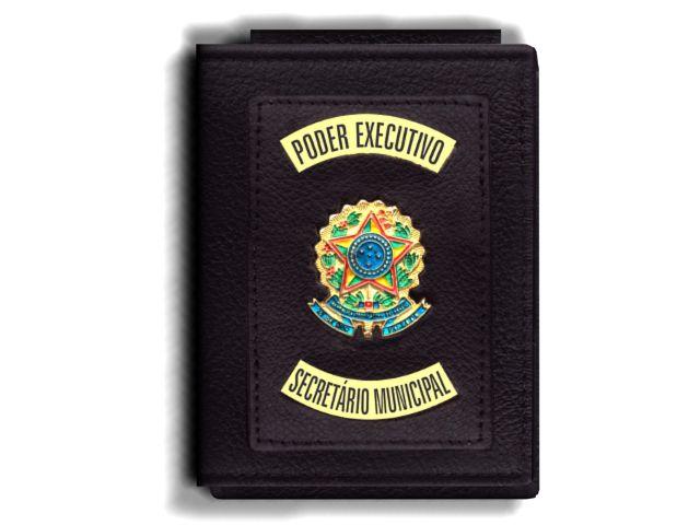 Carteira Premium Funcional Personalizada do Poder Executivo com Brasões para Secretário Municipal