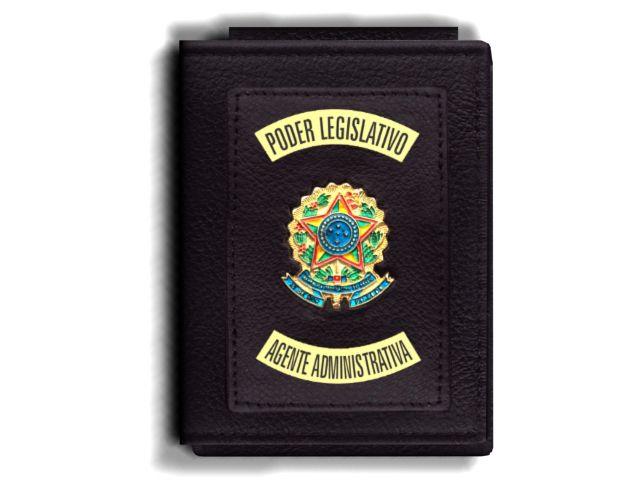 Carteira Premium Funcional Personalizada do Poder Legislativo com Brasões para Agente Administrativa
