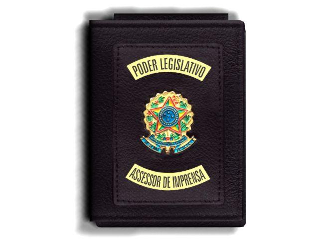 Carteira Premium Funcional Personalizada do Poder Legislativo com Brasões para Assessor de Imprensa