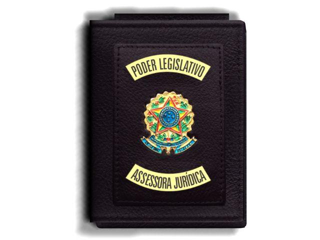 Carteira Premium Funcional Personalizada do Poder Legislativo com Brasões para Assessora Juridica