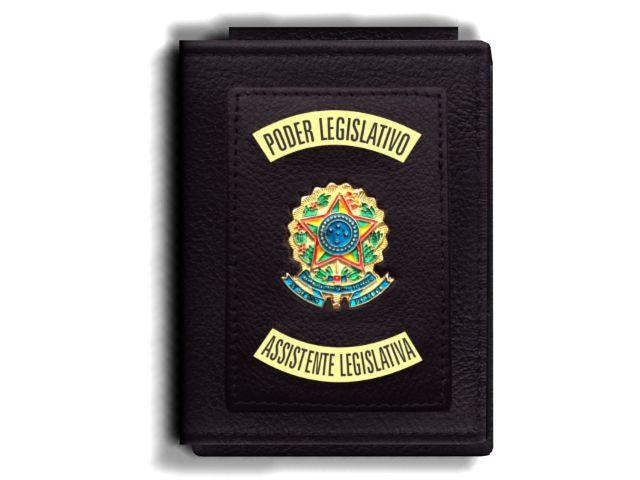 Carteira Premium Funcional Personalizada do Poder Legislativo com Brasões para Assistente Legislativa