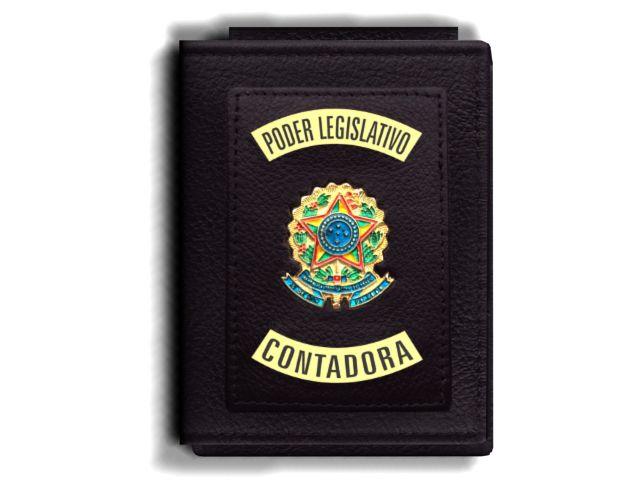 Carteira Premium Funcional Personalizada do Poder Legislativo com Brasões para Contadora