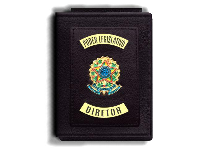 Carteira Premium Funcional Personalizada do Poder Legislativo com Brasões para Diretor