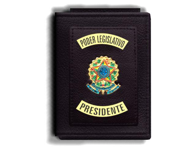 Carteira Premium Funcional Personalizada do Poder Legislativo com Brasões para Presidente