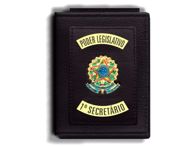 Carteira Premium Funcional Personalizada do Poder Legislativo com Brasões para Primeiro Secretário