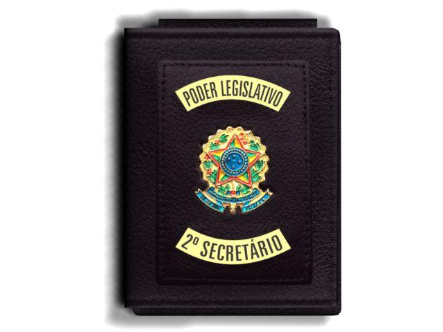 Carteira Premium Funcional Personalizada do Poder Legislativo com Brasões para Segundo Secretário