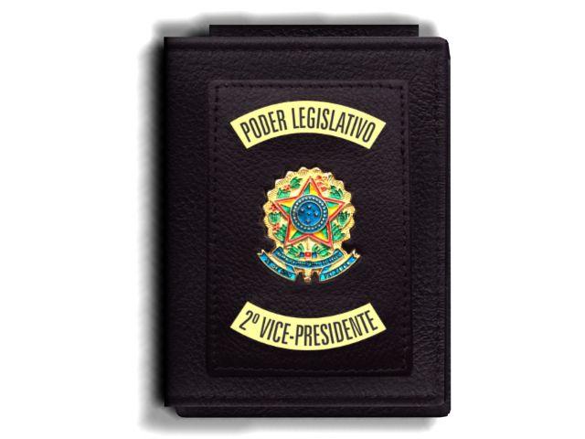 Carteira Premium Funcional Personalizada do Poder Legislativo com Brasões para Segundo Vice-Presidente