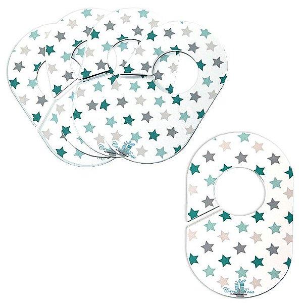 Divisores de Cabides (Kit c/ 5 peças) - Estrelas Verde e Azul