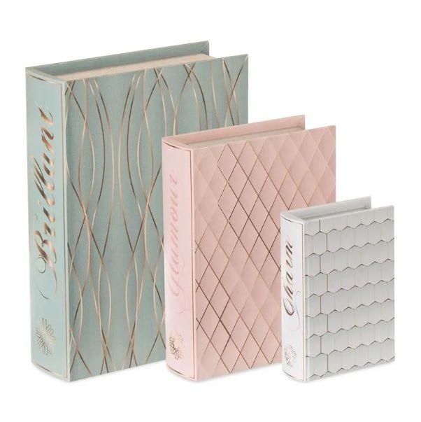 Conjunto de 3 Caixas Livro em Canvas Texture