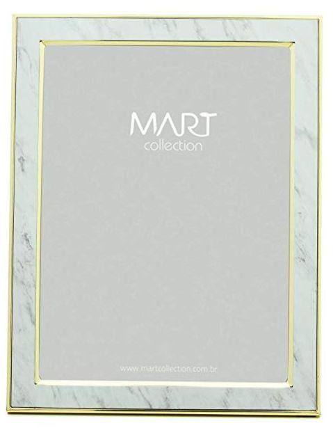 Porta Retrato Marmorizado Branco em Metal 15x20