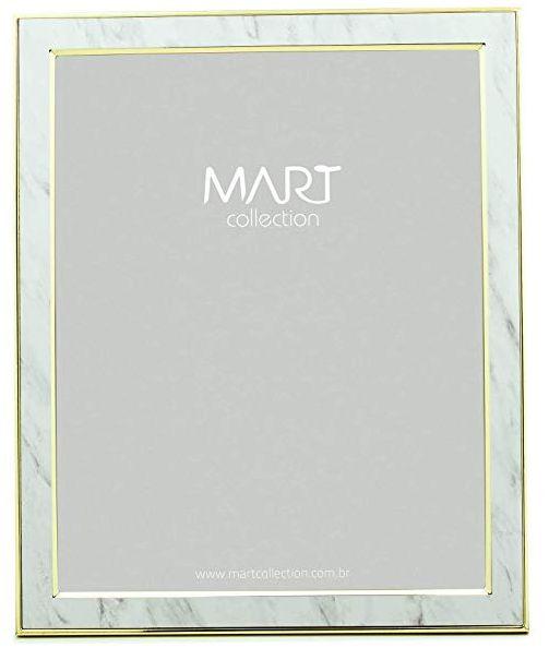 Porta Retrato Marmorizado Branco em Metal 20x25