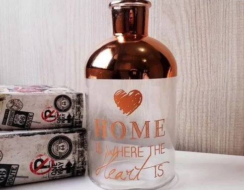 "Vaso ""Home Is Where The Heart Is"" Rose Em Vidro"
