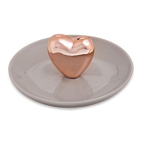 Porta Bijoux Coração Rose Gold em Cerâmica