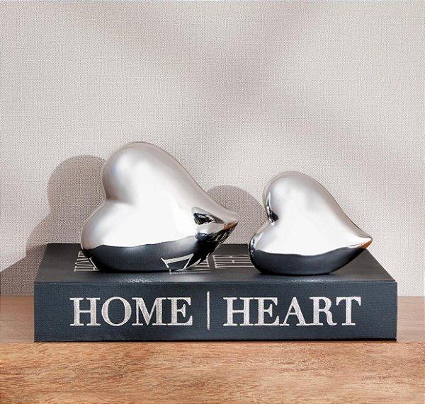 Coração decorativo prata cerâmica