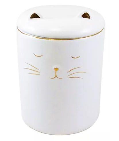 Pote decorativo em cerâmica gato branco G